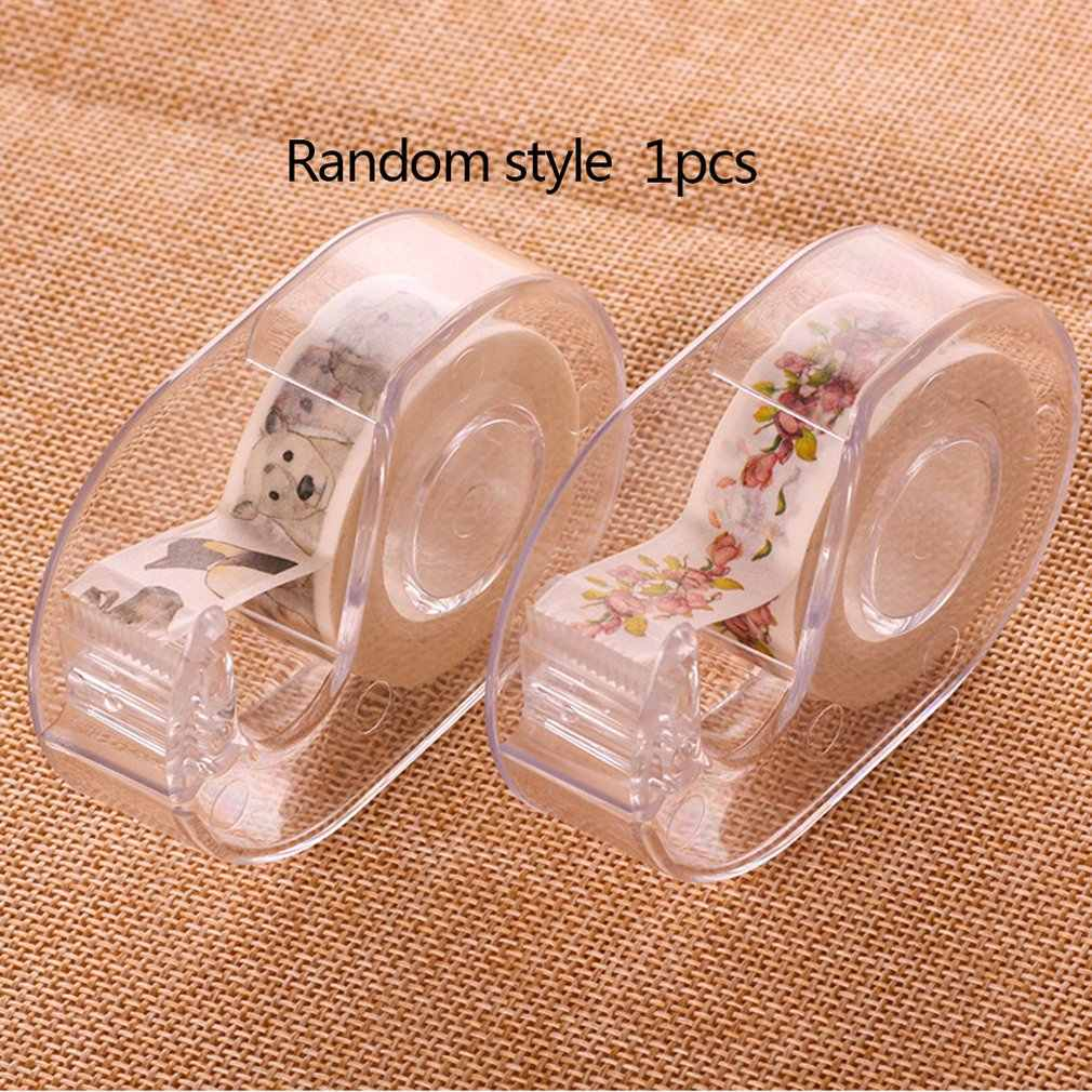 Fashion Transparan Tape Cutter Plastik Kertas Washi Tape Gunting Tape Pemotong Khusus Pemegang Sekolah Office Supplies
