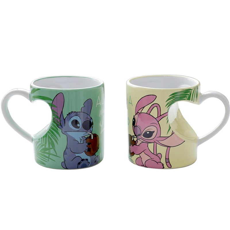 350mL Disney Stitch Cartoon Water Cup Milk Coffee Tea Ceramic Mugs Home Office Collection Cups Love Couple Festival Gifts