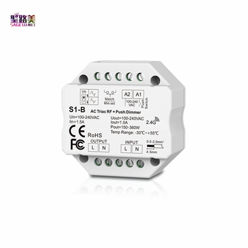 цена на AC 110V - 220V S1-B Led Triac RF Dimmer use with R1 Remote 2.4GHz Wireless 1A 100W-288W Push Dimmer LED Switch Controller