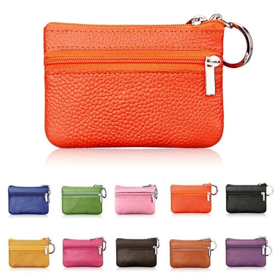 2019 New Brand Men Soft Genuine Leather Card Holder Women Coin Purse Key Holder Zip Wallet Pouch Bag Purse #C2