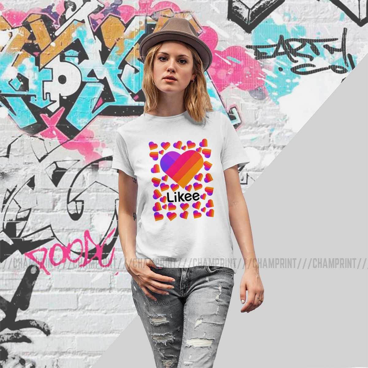 Like App Logo like kalp gökkuşağı grafiti kadın t-shirt Vogue Tshirt Crewneck tee üst yaz grafik elbise kadın için