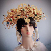 chinese style princess headwear golden empress crown wedding bride photography model hair accessories queen cosplay for studio