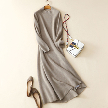 elegant women winter warm casual high quality 100% cashmere knitted dress long