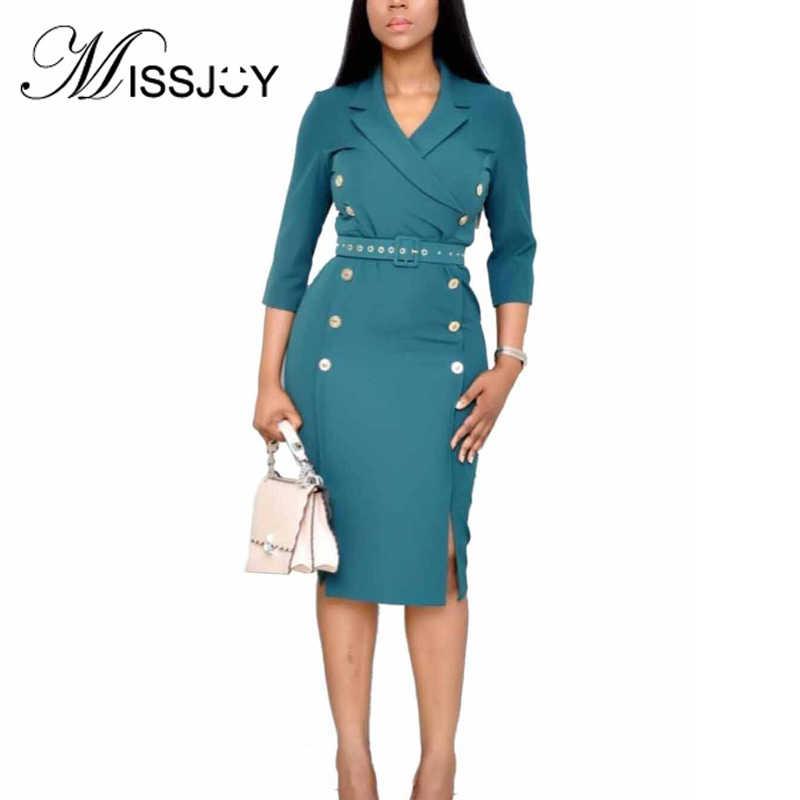 MISSJOY 無地ボタン分割ペンシル女性のドレスミディブレザー V ネックポロセクシーなエレガントな女性 2019 秋事務服ビジネス