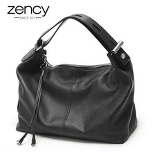 Zency 100% Genuine Leather OL Style Women Tote Bag Fashion Lady Shoulder Bags Classic Handbag Satchel Crossbody Messenger Purse(China)