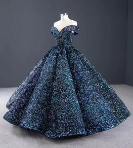 Image 4 - J66991 Jancember bleu Quinceanera robe 2020 chérie manches courtes épaules dénudées paillettes robes de soirée pour grande taille