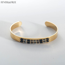 Fever&Free Brazalete Mujer Black Beads Fashion Bangles Stainless Steel Cuff Gold Bracelet Acero Inoxidable Joyeria