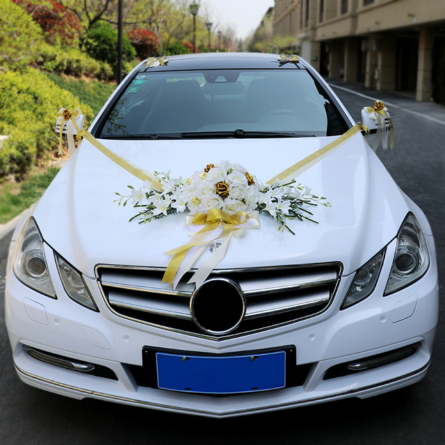 A set wedding car decor simulation roses artificail flowers Valentines Day wreath diy party wedding decoration party supplies