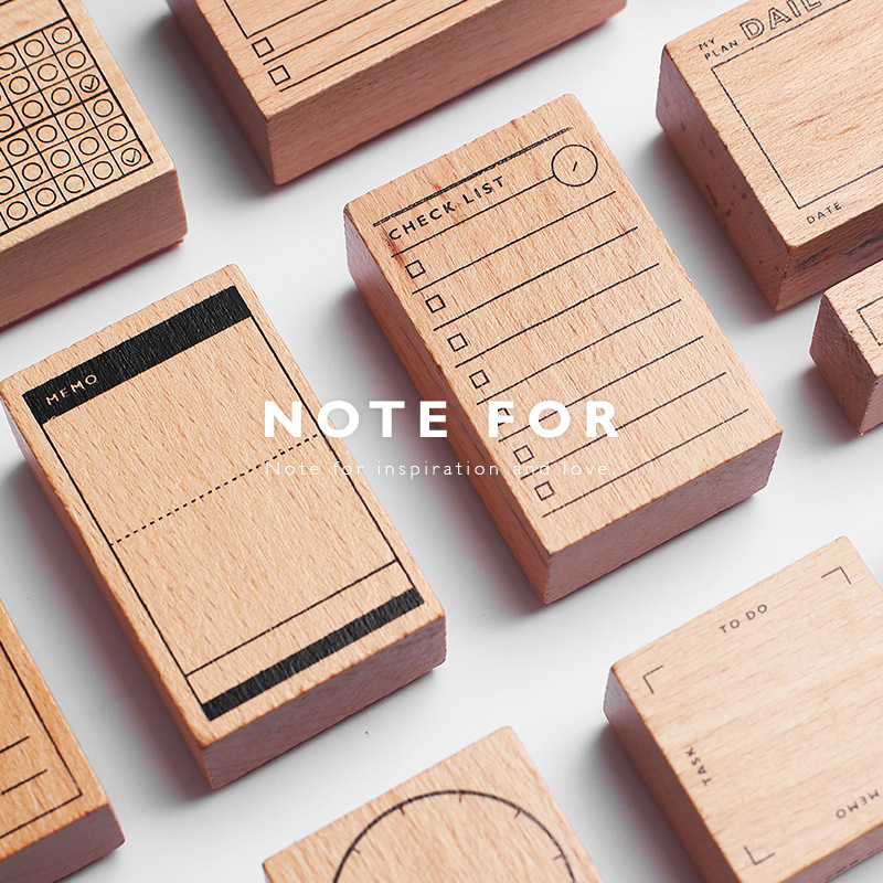 1Set Retro Check List Alphabet Number Time Planner Wooden Rubber Stamp Set For DIY Scrapbooking Cards Decoration Embossing Craft