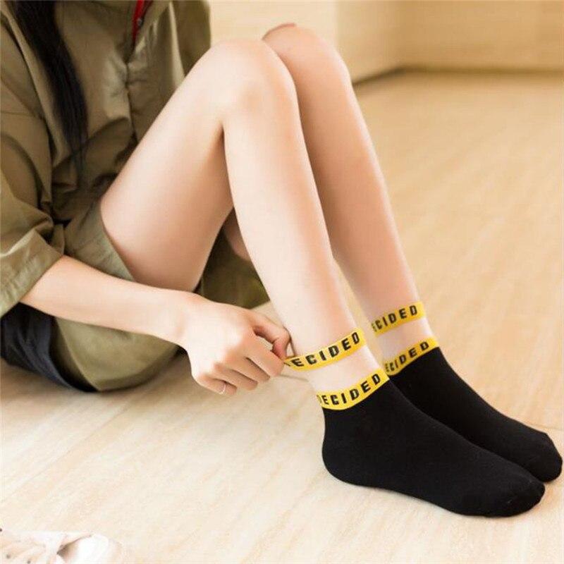 ÇClearance SaleFemale Socks Transparent-Socks Lace Fafshion Solid-Color Women Letter Patchwork Summer╞