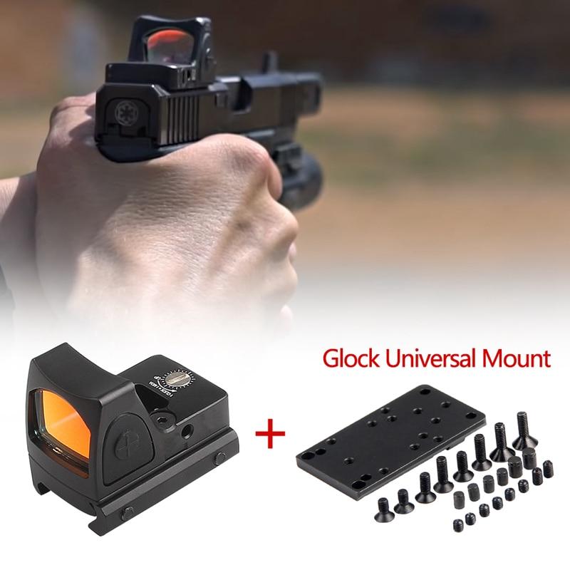Mini RMR Red Dot Glock Collimator Scope Reflex Pistol Sight With Glock Universal Mount Airsoft Hunting Rifle Optical Sight Scope