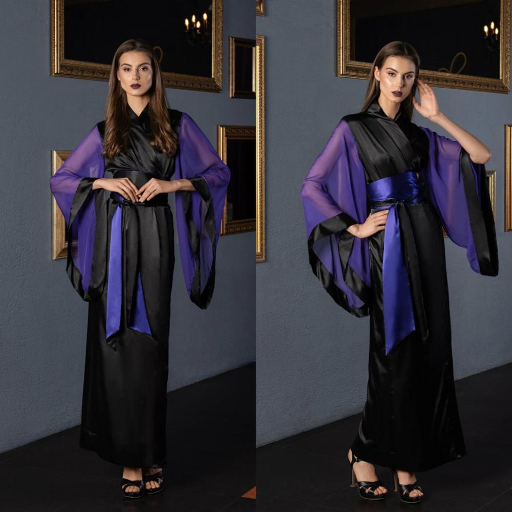 Purple Black Bridal Dress Belt Long Bathrobe Women Lingerie Nightgown Pajamas Sleepwear Women's Luxury Gowns Housecoat Nightwear