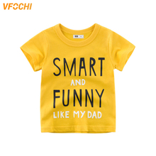 VFOCHI 2019 New Boys T Shirt Funny Letter Print Tee Kids 2-10Y Teenager Boy Tops Color Yellow Short Sleeve Shirts
