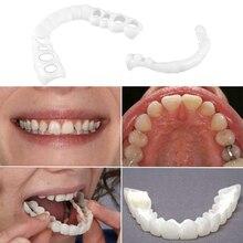 Denture Teeth Whitening Fake Tooth Cover Comfort Fit Silicone Beauty Veneers Teeth Cosmetic Teeth Upper Lower False Teeth Cover