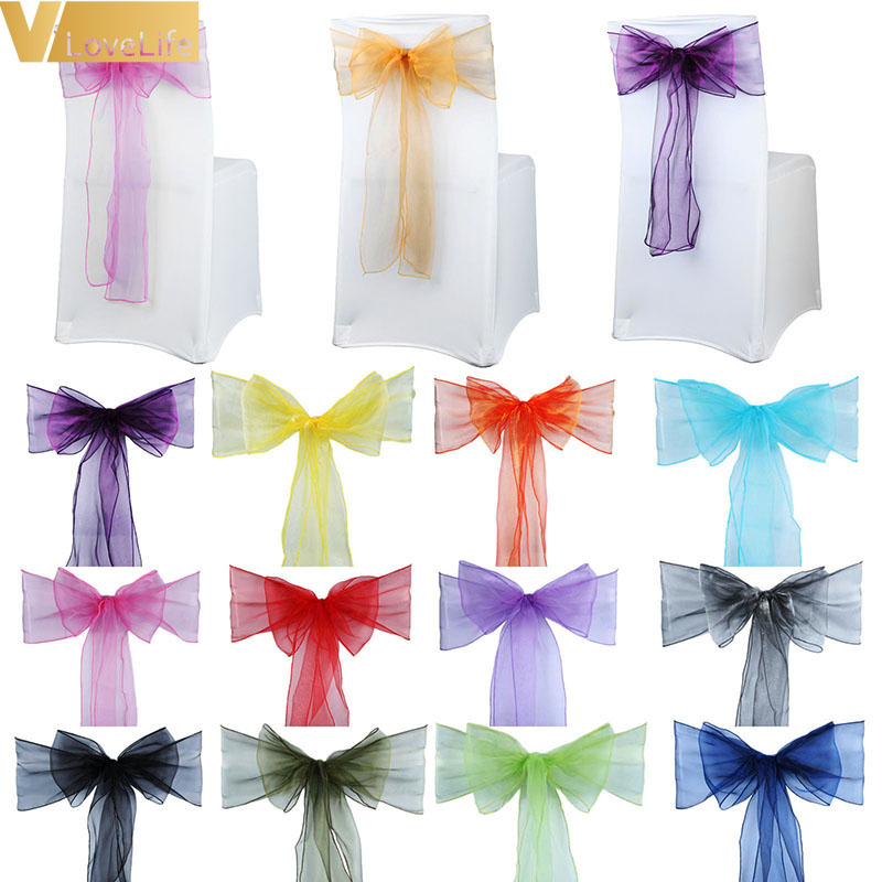 25x Chairs Bow Organza Chair Sashes Wedding Chair Knot Cover Band Belt Ties For Weddings Banquet High Quality Decoration