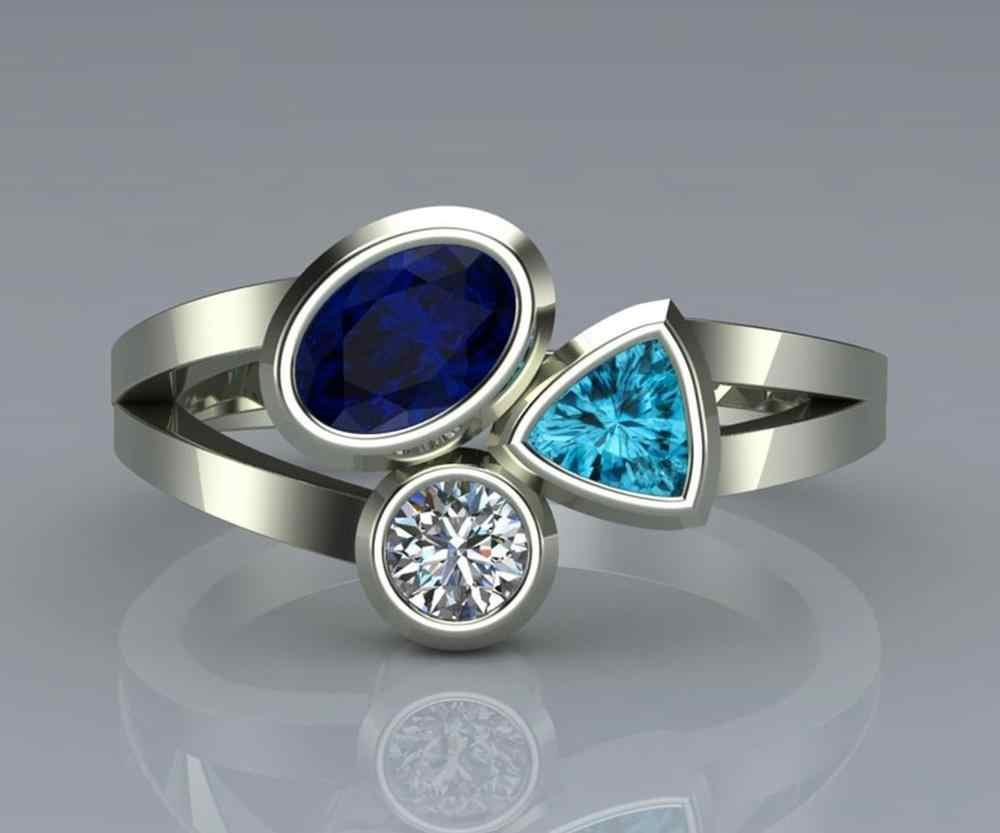 สไตล์ที่ไม่ซ้ำกันหญิงคริสตัลแหวนหินสีเขียวแฟชั่น Silver Gold Finger แหวนสัญญารักหมั้นแหวน