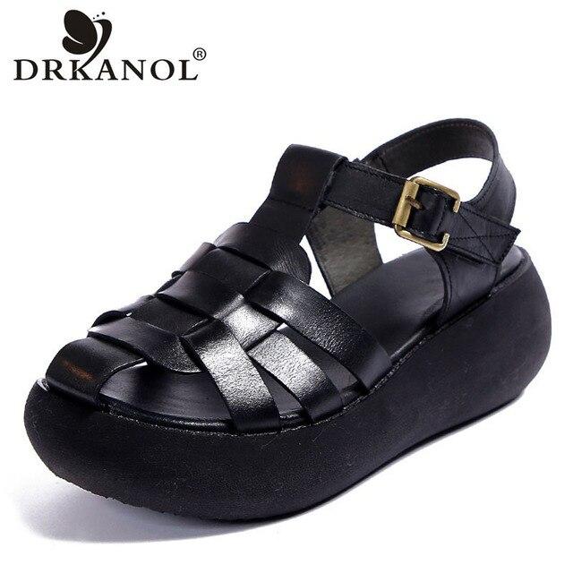 DRKANOL ريترو المرأة الصنادل 2020 إسفين منصة صنادل طراز جلاديتور للنساء أحذية الصيف جلد طبيعي عالية الكعب صندل الإناث 1