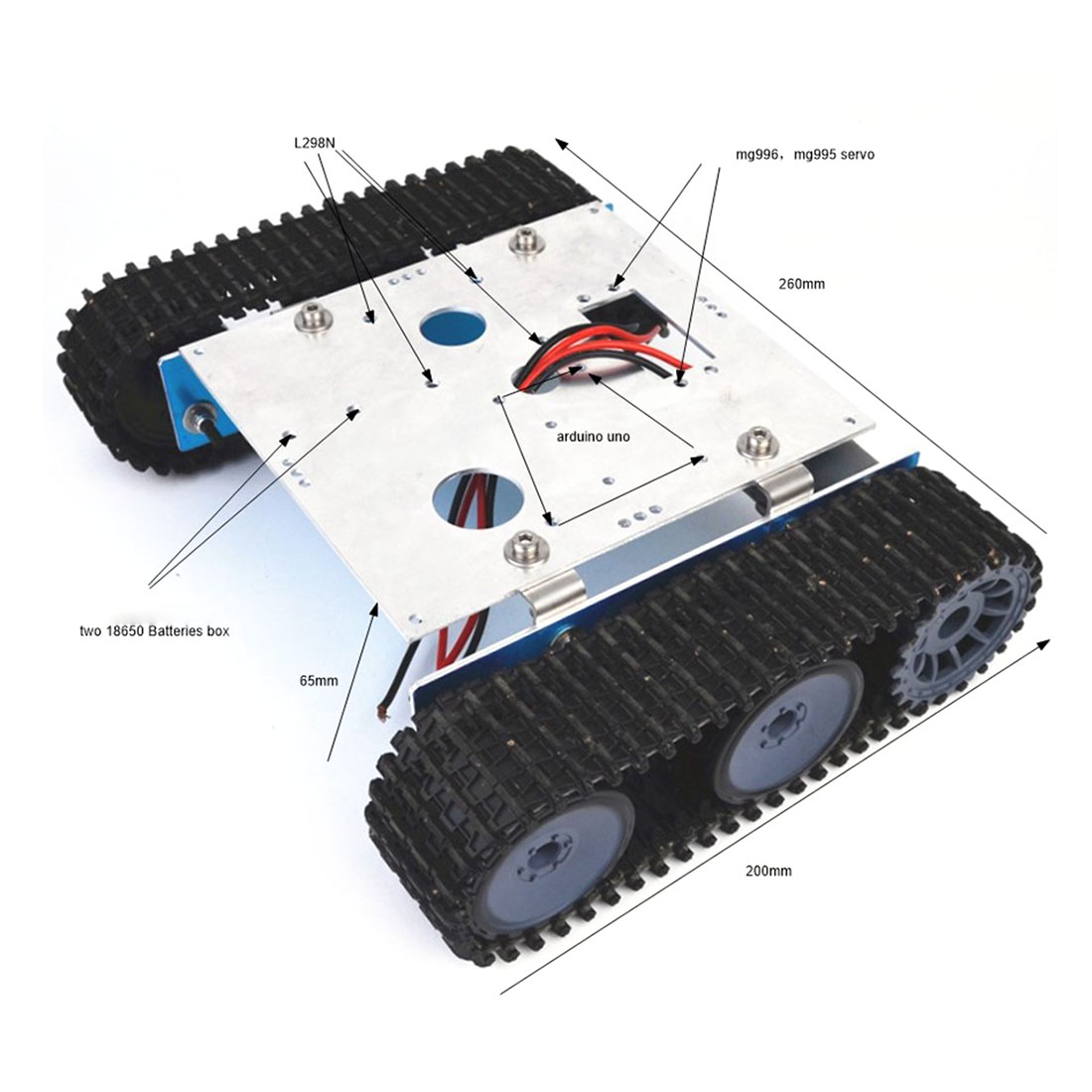 Drop Shipping DIY Aluminium Alloy Tank Robot Caterpillar Vehicle Platform Chassis Assembly Kit For Arduino Kids Birthdaty Gifts