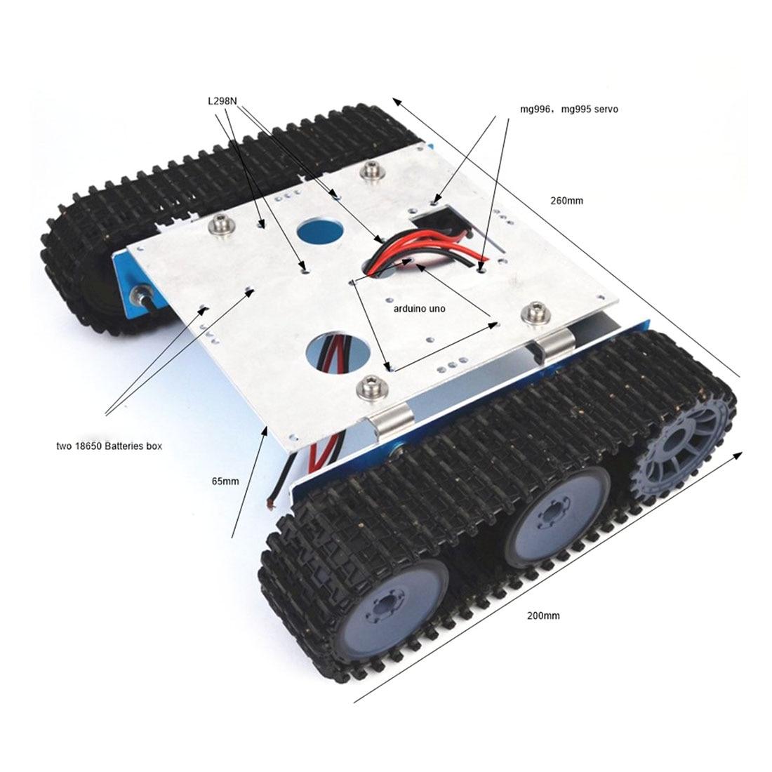 Drop Shipping DIY Aluminium Alloy Tank Robot Caterpillar Vehicle Platform Chassis Assembly Kit For Arduino Kids Birthdaty Gifts