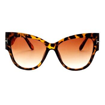 2019 New Fashion Brand Designer Tom Cat Eye Sunglasses Women Oversized Frame Vintage Sun Glasses oculos de sol UV400 - C2