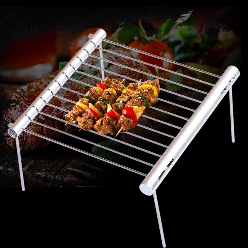 Barbecue en acier inoxydable Portable Barbecue pliant Barbecue Mini poche Barbecue Barbecue Barbecue accessoires pour l'utilisation du parc à la maison