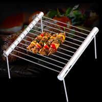 Portátil de aço inoxidável churrasqueira dobrável churrasco grill mini bolso churrasqueira acessórios para uso em casa parque