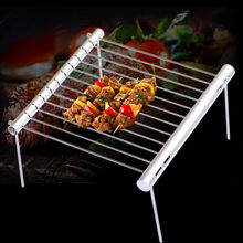 In Acciaio Inox portatile Barbecue Grill Pieghevole Barbecue Griglia Mini Tasca Barbecue Grill Barbecue Accessori Per La Casa Parco Uso(China)