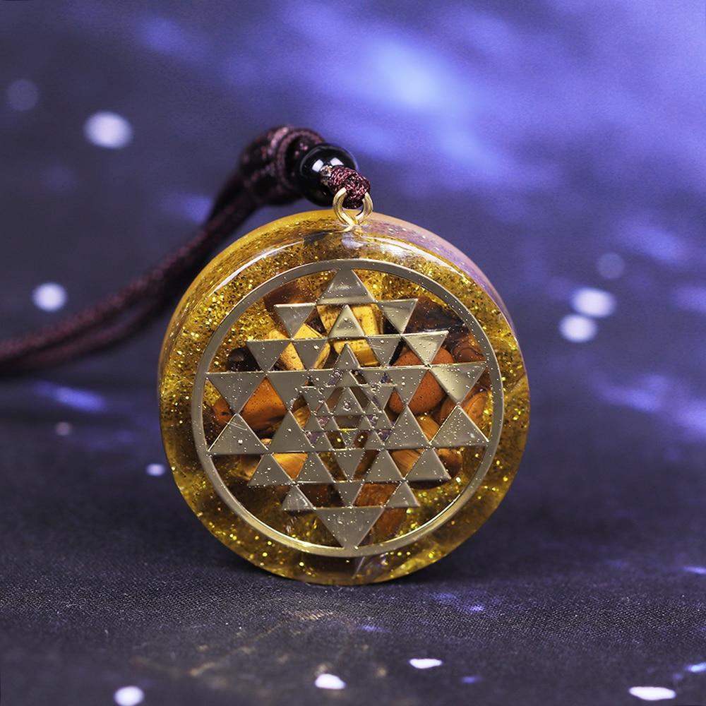 Tiger Eye Orgonite Pendant Sri Yantra Sacred Geometry Necklace Meditation Necklace Handmade Jewelry For Women Men