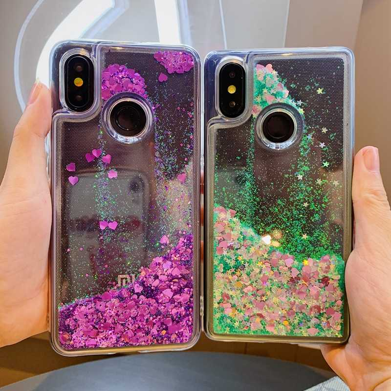 Glitter Liquid Quicksand Love Heart Soft TPU Cover For Xiaomi Mi 8 9 SE A1 A2 A3 Lite 9T Redmi Note 5 Plus 6 7 Pro K20 S2 Coque
