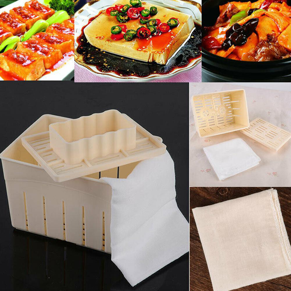 DIY <font><b>Plastic</b></font> Tofu Press <font><b>Mould</b></font> Homemade Tofu Mold Soybean Curd Tofu Making Mold with <font><b>Cheese</b></font> Cloth Kitchen Cooking Tool image