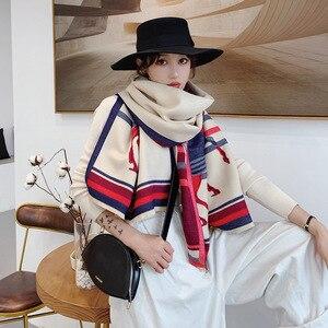 Image 3 - 2019 kış eşarp kadınlar için lüks marka at eşarp bayan kalın kaşmir sıcak battaniye Pashmina şal sarar çaldı