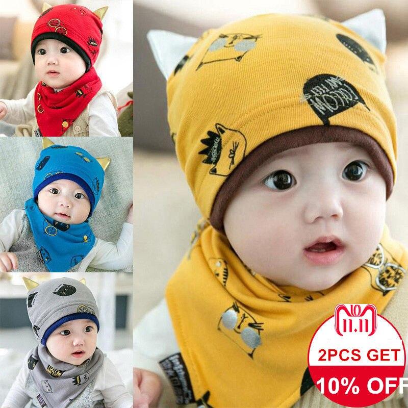 Baby Kids Hat Cap+Newborn Saliva Lovely Infant Towel Triangle Head Scarf Set