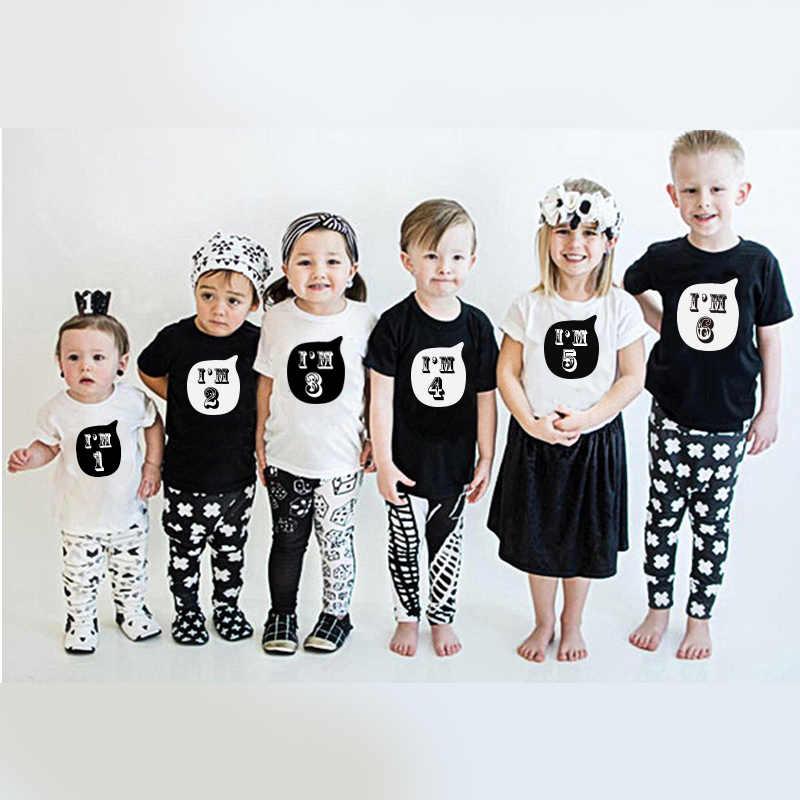 ผม 1 2 3 4 5 6 ปีวันเกิดเด็กเสื้อ T ชายหญิงพิมพ์ฝ้าย T เสื้อ PARTY แขนสั้นเด็ก O-Neck TShirt BOY GIRL Tops