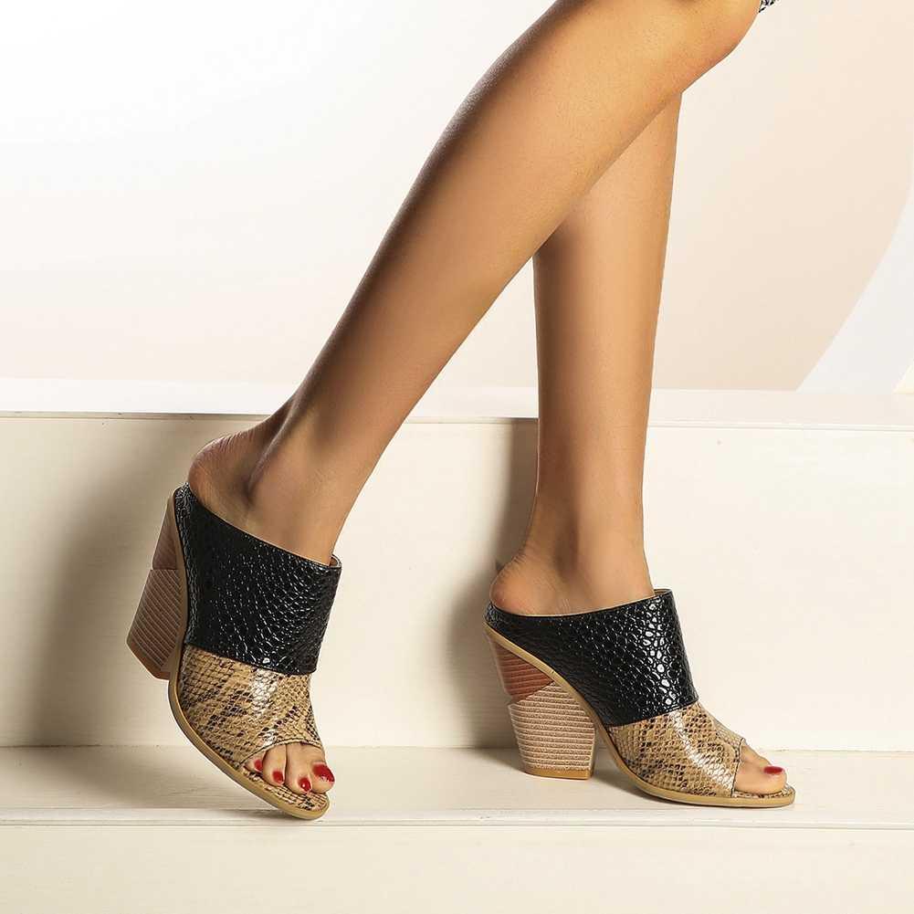 Karinluna 2020 ขายร้อน Dropship WEDGE รองเท้าส้นสูงปั๊มฤดูร้อน Mules SLIP ON Peep Toe ผสมสีรองเท้านอกรองเท้าผู้หญิงปั๊ม