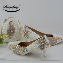 Wedding-Shoes Matching-Bags Bride-7cm White Ladies Thin Heel Women Baoyafang with Peacock