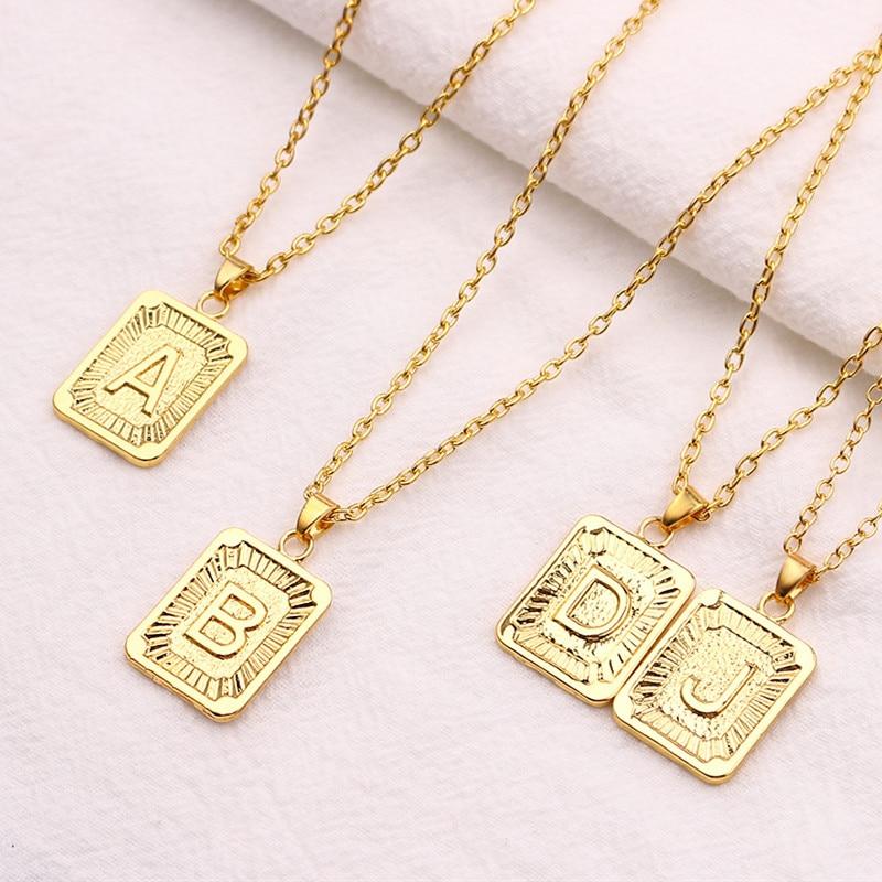 Colliers en or minuscule lettre initiale | Umisex, breloque Luster, métal or, amour Couple pendentif cadeau pour femmes hommes bijoux