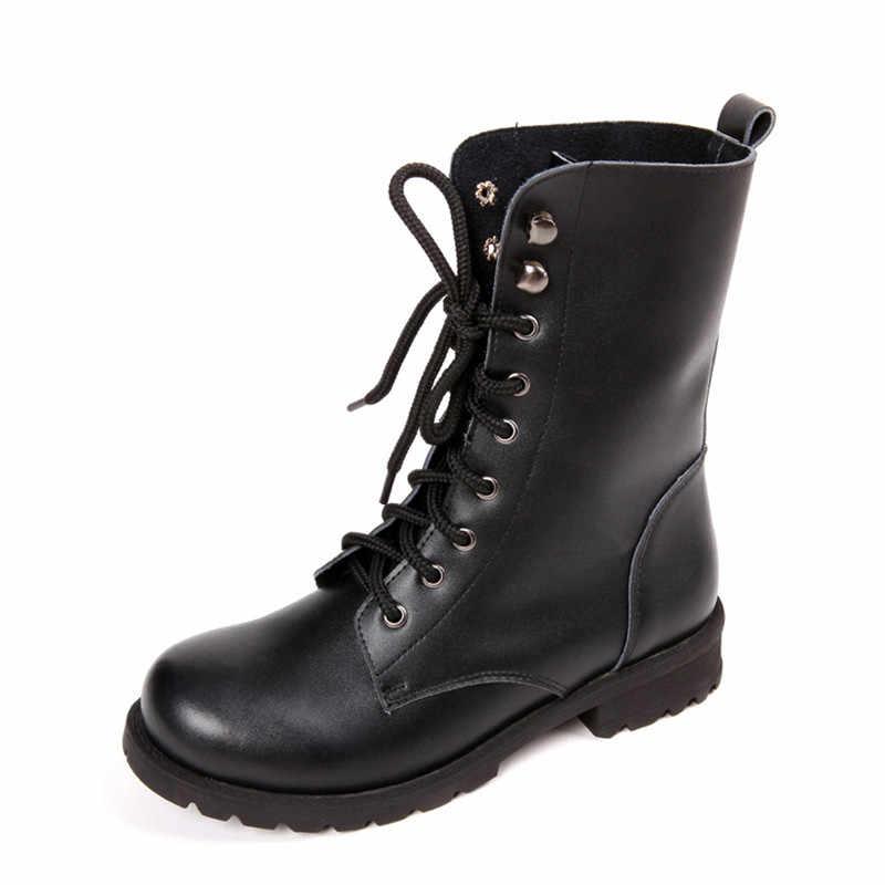 Deri çizmeler kadın yarım çizmeler motosiklet çizmeler kadın ayakkabısı sonbahar dantel Up kış motosiklet botları 2019 yeni İngiliz tarzı