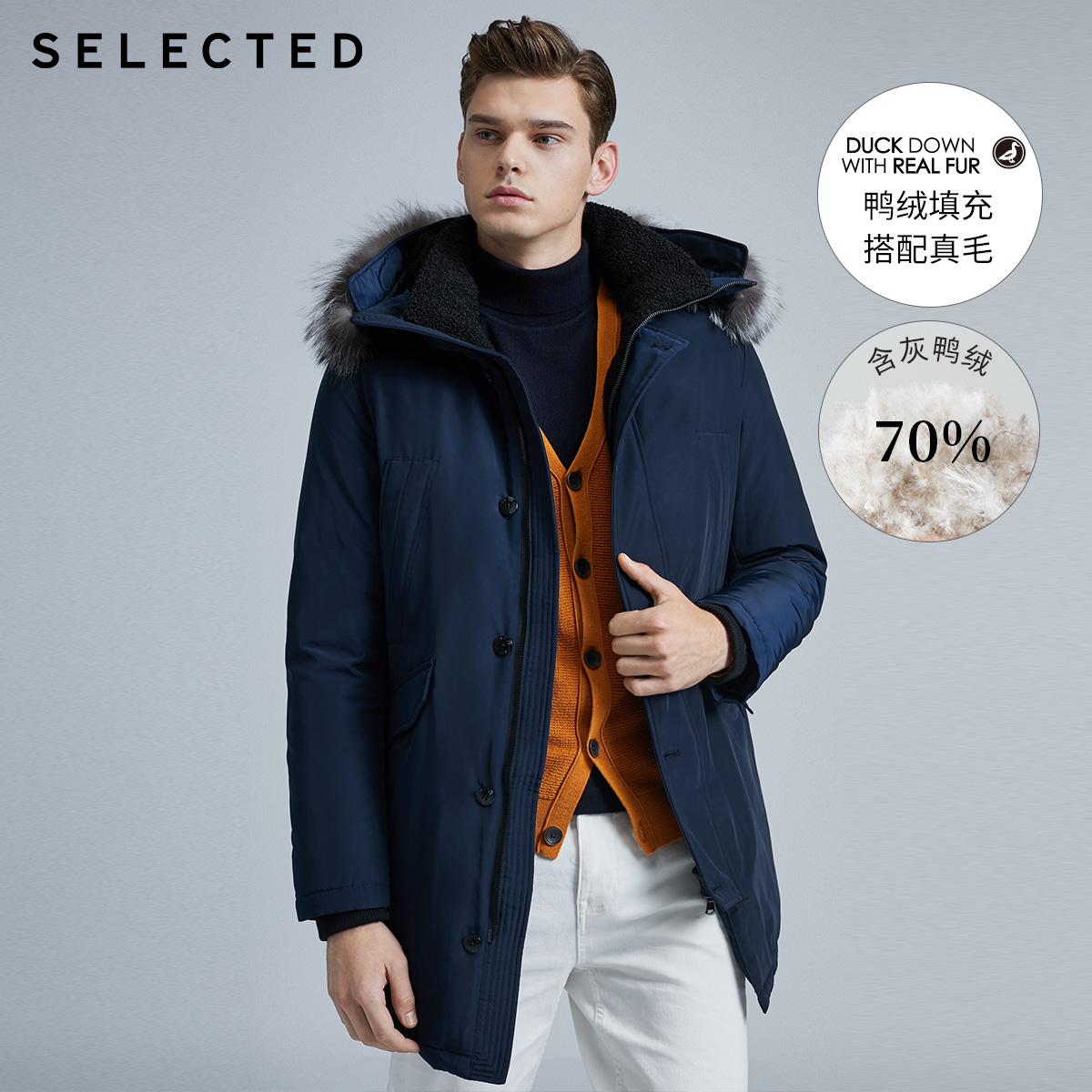 SELECTED Men's Winter Fur Collar Parka Outwear Mid-length Duck Down Jacket Coat S|419412520