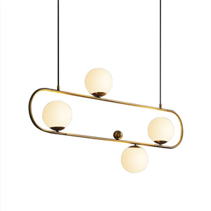 Post Modern Luxury Restaurant Dining Room Pendent Lamp Nordic Creative Living Room Kitchen Pendent Light Glass Ball LED Lighting|Pendant Lights| |  -