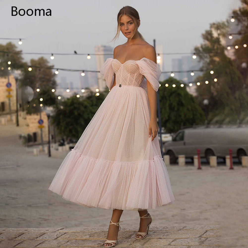 Booma Blush Pink Short Prom Dresses 2021 Off Shoulder Tiered Skirt A Line Party Dresses Pleated Tea Length Tulle Formal Gowns