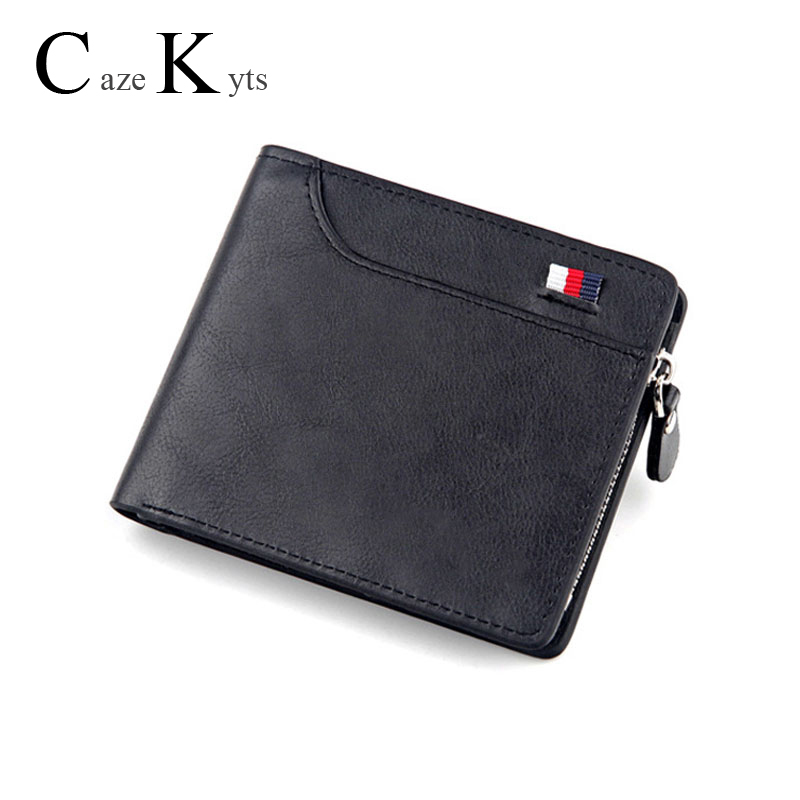 New Men's Short Wallet Retro Casual Cross Card Bag Multi-function Wallet Zipper Bag Leather  Purse