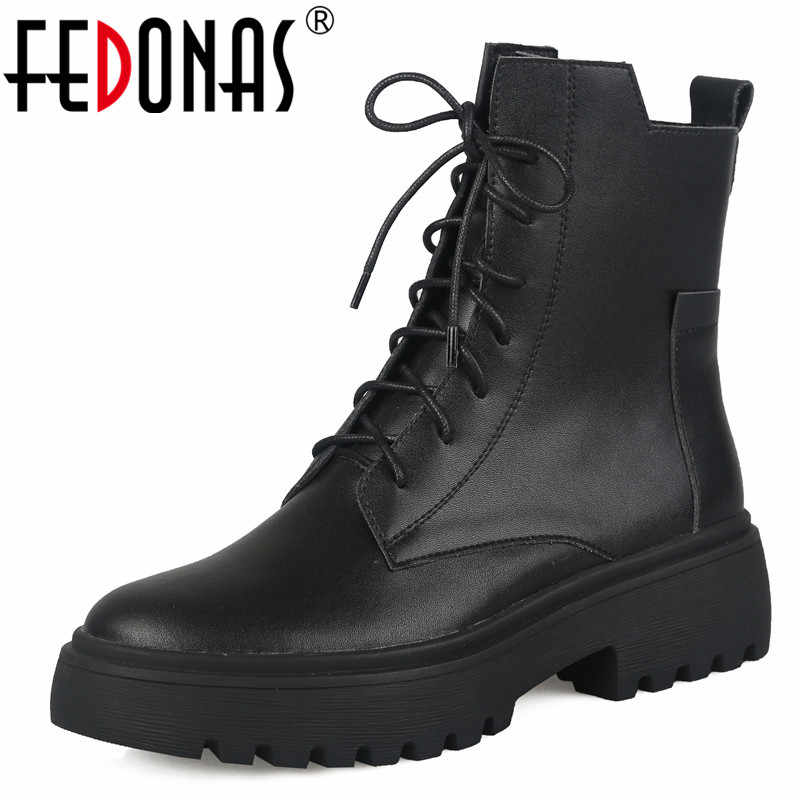 FEDONAS Punk Female Motorcycle Short Boots Winter Warm Women Zipper Ankle Boots Party Basic Shoes Woman Newest Chunky Heels