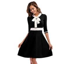 Женское элегантное платье с бантом на рукавах осеннее большим