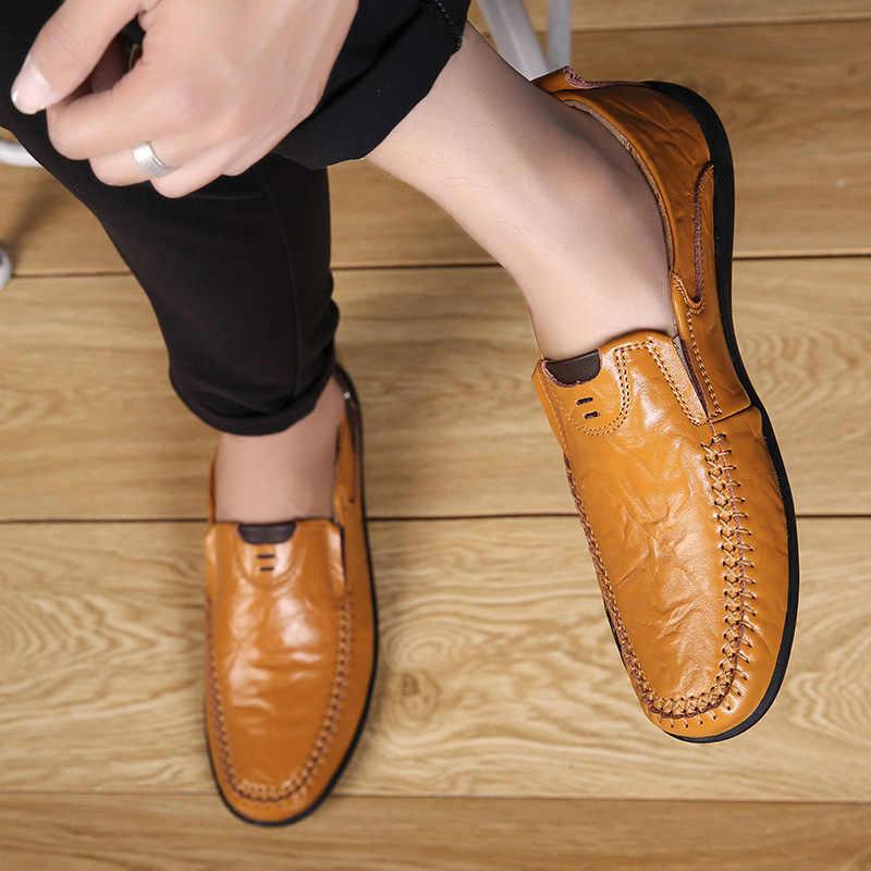 Merkmak Casual Echtem Leder Männer Schuhe männer Müßiggänger Mokassins Atmungsaktive Slip on Driving Schuhe Mann Plus Größe 39- 47 arbeit Schuhe