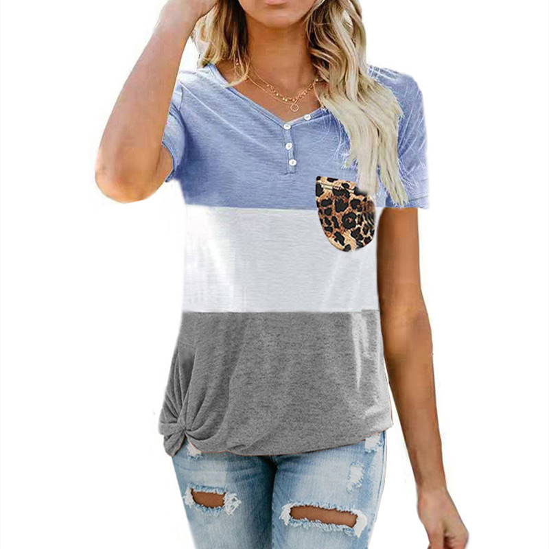 2021 Summer Ladies Fashion T-Shirt Short Sleeve Stitching stripes Button Leopard Print Pocket Loose Casual V-Neck Women Tee Tops
