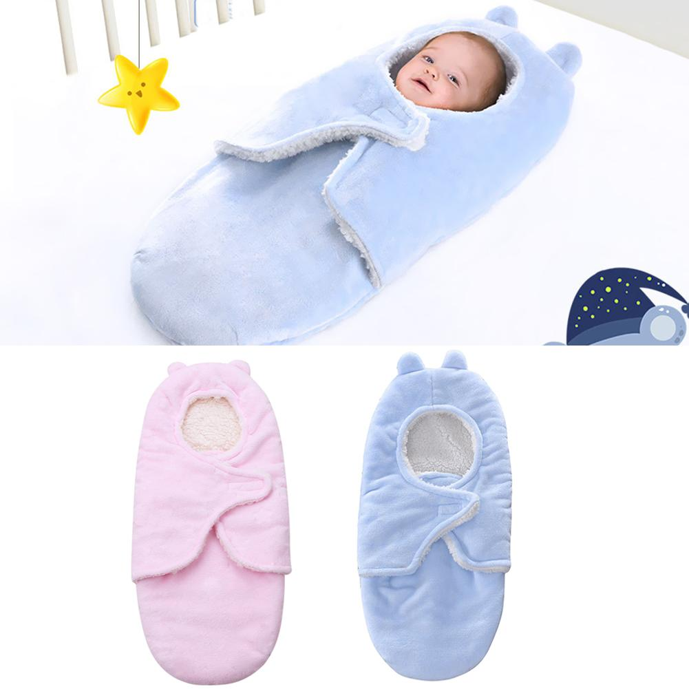 Envelope Baby Sleeping Bag Flannel Lamb Swaddle Wrap For Infant Stroller Blanket Soft And Skin-friendly Baby Special Velcro