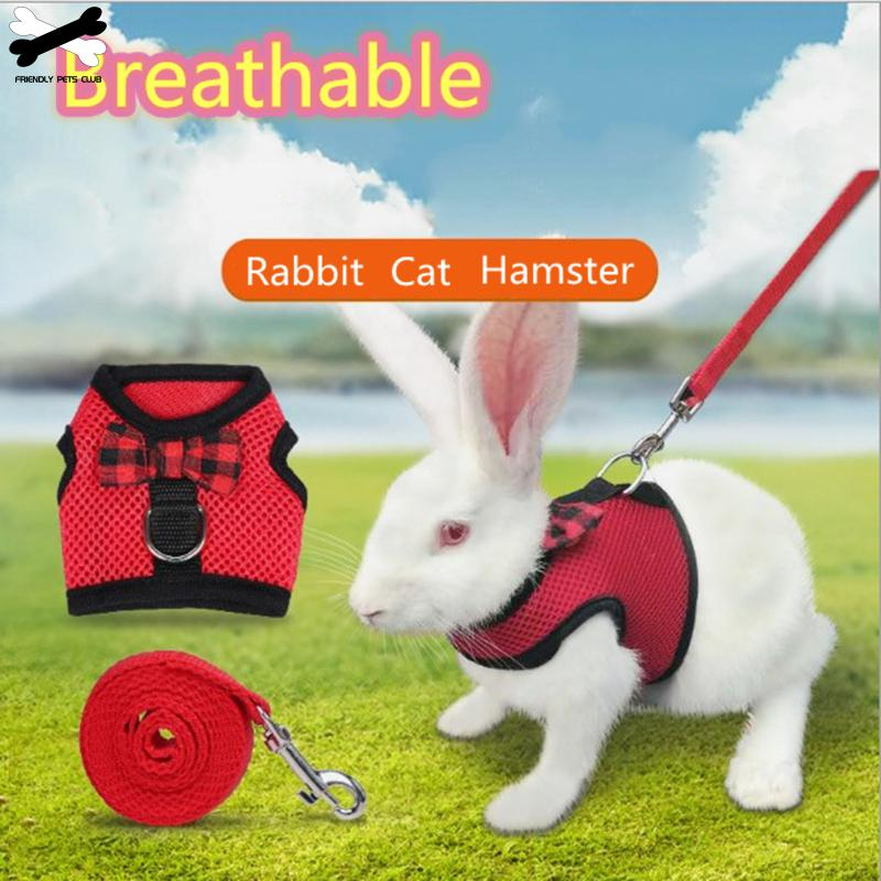 Rabbits Hamster Ferret Small Animals Vest Harness With Leash Bunny  Mesh Chest Strap Harnesses Guinea Pig  Pet Accessories 96
