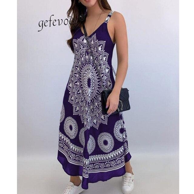 Summer Vintage Elegant Print V-neck Sleeveless Beach Party Long Dress 2021 Women Dresses Vestidos De Verano Casual Boho Sundress 3
