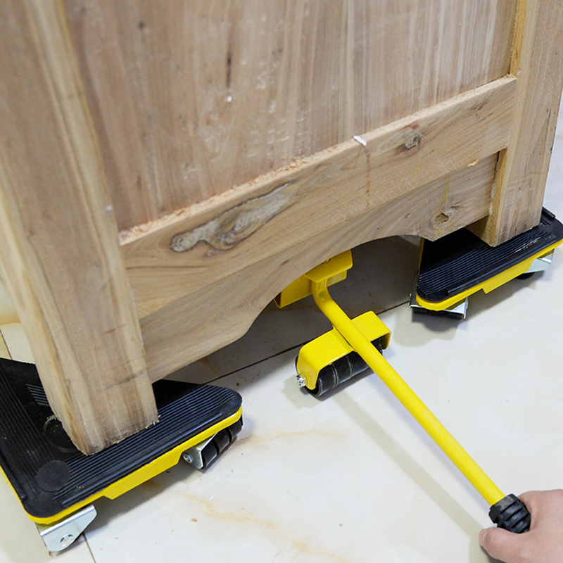 Tools : 5 Pcs Furniture Moving Transport Roller Set Removal Lifting Moving Tool Set Wheel Bar Mover Device Max Up for 400 KG