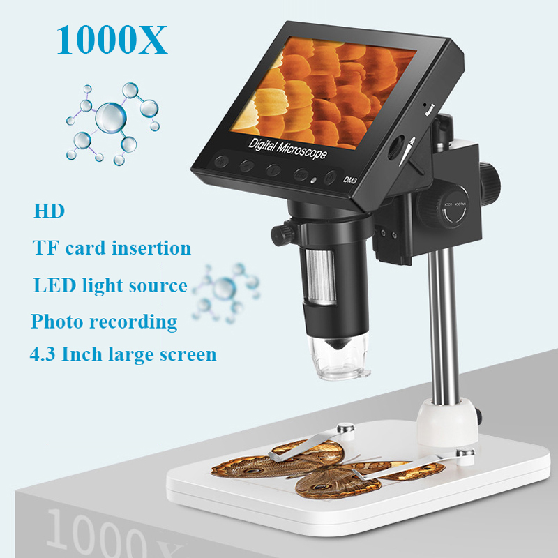 1000X Digital Microscope Electronic Video Microscope 4.3 Inch HD LCD Soldering Microscope Phone Repair Magnifier + Metal Stand